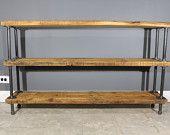 Reclaimed Wood Shelf/Shelving Unit with 3 Shelfs - Industrial gas pipe legs - Endurovar Finish - FAST Shipping - 20% Off Item