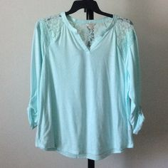 SALENWT Mint colored top with mesh upper decor Long sleeved. Scrunch sleeves with button closure option ptwsxq Sonoma Tops