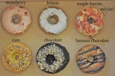 @Nicole Novembrino Novembrino Schussel looks at the maple bacon fonut!!! I actually might like these because they're faux donuts (baked, not fried) i want to try lemon and banana chocolate. Lets go!