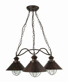 lmpara colgante rstica de tres luces jardin iluminacion lamparas