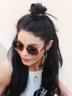 Vanessa Hudgens' boho half-up/half-down bun: excellent weekend hair inspiration.