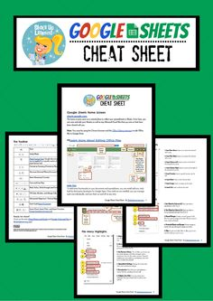 Google Sheets Cheat Sheet for Teachers and Students #google #gafe  https://www.teacherspayteachers.com/Product/Google-Sheets-Cheat-Sheet-for-Teachers-and-Students-2164539