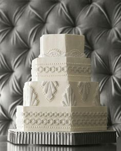 Don't usually pin cakes but I love this!! Art Deco White Wedding Cake - Stunning