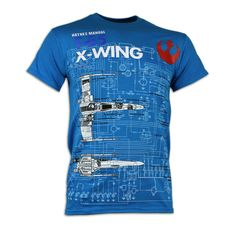 Star Wars X-Wing Fighter Haynes Manual Blue T-Shirt: Amazon.co.uk: Clothing
