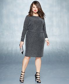 Holiday 2014 Plus Size Embellished Ensembles Metallic-Knit Dress Look