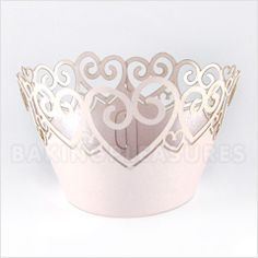 Heart Pearl Pink Lace Cupcake Wrappers