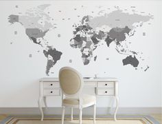 Boston's room  World map decal. Political world map wall by decoratingwalls