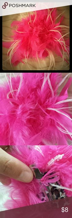 Fun feather hair accessory Clip in pink and white feathers Accessories Hair Accessories