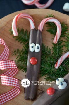 Candy Cane Reindeer...can use pretzel rods instead and make bunnies rather than reindeer