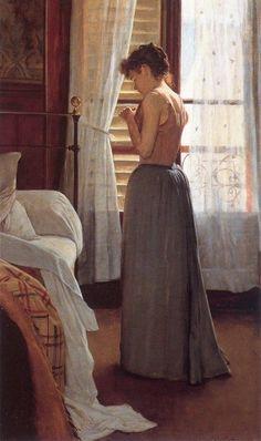 Estudo de Figura (1890) - Santiago Rusiñol (1861-1931) Santiago Rusiñol foi um pintor, escritor e ideólogo do movimento modernista catalão, e uma figura popular na vida boêmia, na vida do Movimento Modernista Sitges. Muito de seu trabalho em Paris pertenceu ao estilo de pintura Simbolista. Ele frequentou a Academia Gervex, onde descobriu seu amor pelo modernismo. Depois de regressar a Espanha, ele se estabeleceu em Sitges, fundando um estúdio / museu chamado Cau Ferrat. Em Barcelona, ele
