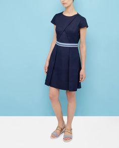 Colour block pleated dress - Navy | Dresses | Ted Baker