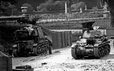 Abandoned French Hotchkiss H35 and A Panzerjager R35 left by the Germans during the withdrawal from Paris in 1944
