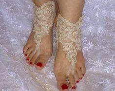 Free ship white or ivory Beach wedding barefoot by GlovesByJana