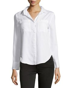 Velvet Heart Patch-Pocket High-Low Blouse, Optic White New offer @@@ Price :$98 Price Sale $69