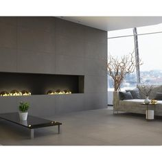 Concept Gray Porcelain Tile - 24 x 48 - 100811777 Wooden Fireplace, Fireplace Wall, Fireplace Design, Diy Home Interior, Interior Design, Living Room Wall Units, Home Ceiling, Luxury Estate, Dream Home Design