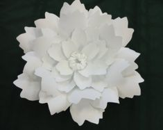 White Paper Flower Wall 8ft x 8ft Extra Large Paper Flowers Decoration Backdrop Prop Includes flowers in various styles and sizes from 6- 22. Your flower styles may differ from the pictures shown. The flowers are individual pieces to be used as you desire. ****Only includes the flowers, you have to provide the backdrop to attach the flowers to. Create your own paper flower backdrop for your wedding, event, or living room. ******Ships in 4 large boxes.************** ***All photos ar...