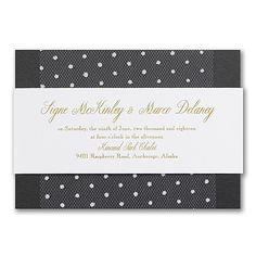 Like a blusher veil or a vintage fascinator. That's the look the dotted tulle gives this black shimmer wedding invitation. The band is printed with your wording. Black And White Wedding Invitations, Traditional Wedding Invitations, Beautiful Wedding Invitations, Wedding Invitation Design, Lace Invitations, Unique Invitations, Blusher, Fascinator, Wedding Inspiration