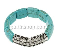 Mode Türkis Armband, Synthetische Türkis, mit Zinklegierung, antik silberfarben plattiert, mit Strass, 25.50x18x6mm, Länge:ca. 7.5 Inch,- perlinshop.com