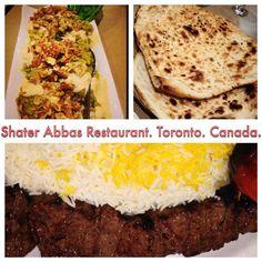 Eggplant dish, Barg Chelokabab and Fresh Taftoon bread from Tanour at Shater Abbas restaurant Toronto.