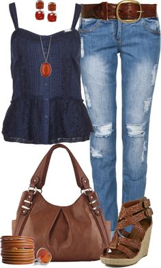 """Casual Spring Blues"" by angela-windsor on Polyvore"