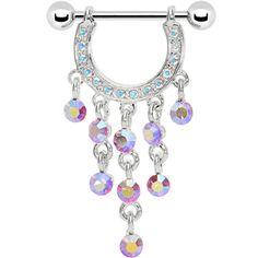 "14 Gauge 3/4"" Aurora Aqua Gem Dangle Nipple Shield | Body Candy Body Jewelry"