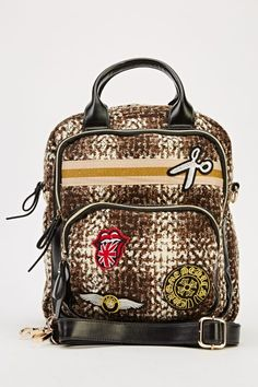 Badged Faux Leather Backpack – www.edsfashions.co.uk