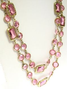 Vintage Chanel Pink Crystal Chicklet Runway Sautoir Necklace 1981  