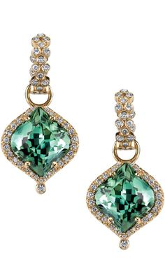 Tourmaline & Diamond earrings by Erica Courtney.