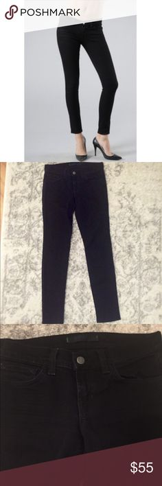 "J Brand ""Jett"" Black Skinny Jean Size 25 J Brand ""Jett"" black skinny jean. 28"" inseam. 5"" leg opening at the bottom. 7"" rise. 98% cotton and 2% spandex. Minimal spots of wear around the seams/corners of the pockets and fly as pictured. Nothing major. No other flaws to note. J Brand Jeans Skinny"