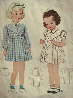 Vintage 1930's McCall pattern #9536 Little Girl's Dress and Panties. Sweet toddler girl dress. V-shaped yoke with button closure. Contrast collar. Pleated front and back. View A has long sleeves with band at wrist. Sash tie belt. View B has short puff sleeves. Size: 2 Breast: 22 inches. | eBay!