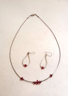 "Silver and Garnet 18"" Necklace and 1 1/4 Dangle Earring Set  1924 #Chain $35.94"
