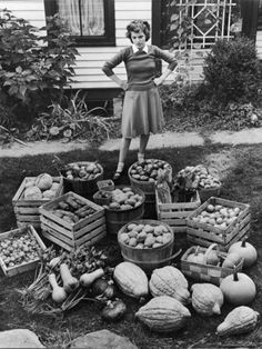 Woman Looking at Victory Garden Harvest Sitting on Lawn, Waiting to Be Stored Away for Winter Photographic Print