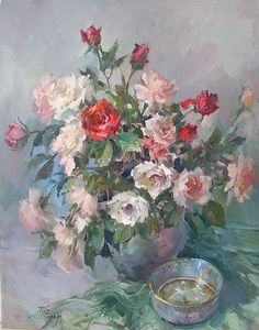 Roses In Pastel by JOYCE PIKE Oil ~ 30 x 24
