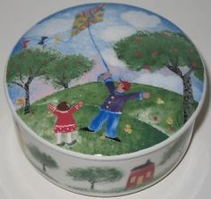 Mom Birthday Gifts    GO FLY A KITE! Ceramic jewellery or trinket box is titled Remember When by Nikko and Deb Mores, it features a primitive or folk-styled country image of two children flying a kite. #giftsformom #ck