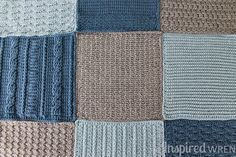 Love this colorway! Crochet Along Afghan Sampler 2015 from The Inspired Wren   CAL with 2 squares per month for a complete blanket in one year!