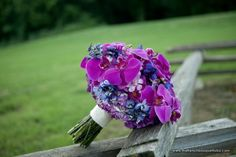 Stunning All-Purple Bridal Bouquet of Orchids, Hydrangea, Roses, and Delphinium - The French Bouquet - Artworks Tulsa Photography Purple Orchid Bouquet, Orange Orchid, Blue Bouquet, Purple Orchids, Purple Flowers, Bright Purple, Pink Purple, Wedding Flower Photos, Flower Bouquet Wedding