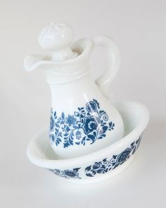 Vintage Avon pitcher and bowl blue white decanter by AlbertsAttic