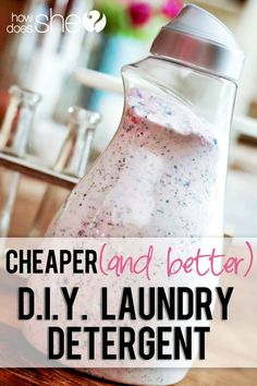 Cheaper AND Better! DIY Laundry Detergent howdoesshe.com  #diylaundrysoap #cleaning