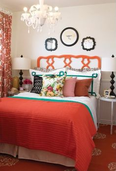 Sweet Room Decor For Adorable Baby Girl and Toddler, Youthful Girls (Home Design And Interior) Coral Bedroom, Dream Bedroom, Home Bedroom, Bedroom Decor, Bedroom Colors, Design Bedroom, Bedroom Ideas, Bedroom Orange, Bedroom Inspiration