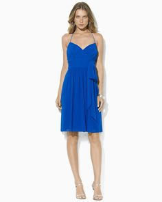 Lauren Ralph Lauren Georgette Halter Dress | Bloomingdales SALE FOR $142* ***Macy's has it for $95*** I tried it on; poly but feels like silk, and the construction was great, but not right for someone with my endowment. C cup or smaller would look great in this one.