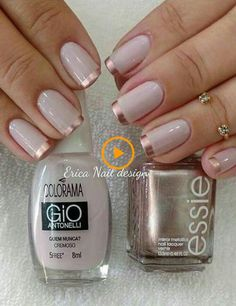 Nail Art Designs 💅 - Cute nails, Nail art designs and Pretty nails. Rose Gold Nails, Pink Nails, Gold Tip Nails, Fancy Nails, Trendy Nails, Nailed It, Nagellack Design, Nagel Blog, Spring Nail Colors