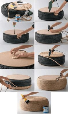 Tire Puff: Models and step by step – # for … – vuche Tire Furniture, Garden Furniture Design, Diy Outdoor Furniture, Outdoor Garden Decor, Wooden Pallet Furniture, Outdoor Decorations, Diy Home Crafts, Diy Home Decor, Diy Projects At Home