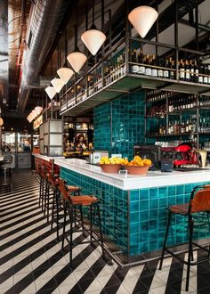Loving the tile in this restaurant. The rich color of the bar really pops agains. Loving the tile in this restaurant. The rich color of the bar really pops against the stripes of ti Cafe Bar, Cafe Restaurant, Restaurant Ideas, Rotterdam Restaurant, Restaurant Restaurant, Bar Interior Design, Restaurant Interior Design, Cafe Design, Resturant Interior