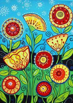 Flower Folk Art Folk Art Flowers, Flower Art, Flora Flowers, Beautiful Flowers, Beautiful Pictures, Wal Art, Arte Popular, Naive Art, Art Graphique
