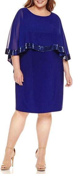 Scarlett 3/4 Sleeve Sequin Woven Overlay Sheath Dress-Plus