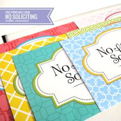 {Free Printable} No Soliciting Sign. Print on our full sheet labels here: http://www.worldlabel.com/Pages/wl-ol175.htm