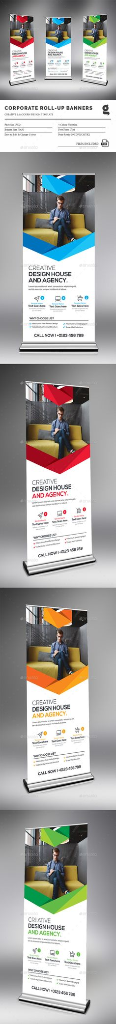 Corporate Rollup Banner Template PSD #design Download: http://graphicriver.net/item/corporate-rollup-banner/14492283?ref=ksioks