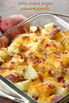 Twice Baked Potato Casserole - a delicious side dish with potatoes, cheese, sour cream, bacon and more. YUMMY!!