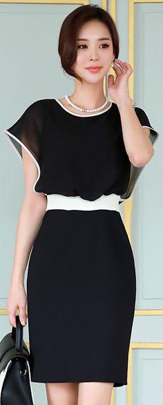 StyleOnme_Contrast Color Trim Chiffon Detail Dress #black #white #elegant #feminine #koreanfashion #kstyle #kfashion #dress #seoul