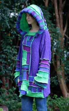 Deposit listing for William Preite  Recycled Sweater Coat Hoodie.  Guy .Unisex  upcycled fairy Elf  Large Hippie Grateful Dead Furthur